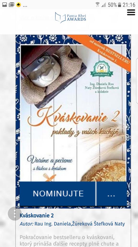 Nájdi knihu Kváskovanie 2 - Poklady z vašich kuchýň a klikni na NOMINUJTE