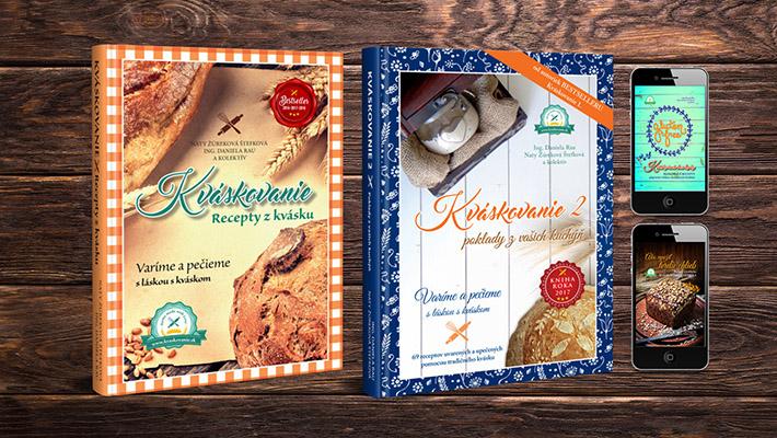 """157 receptov z kvásku - v tlačených knihách 134 receptov (z toho 21 bezlepkových)   dve bonusové e-knihy """"Kváskovanie bez lepku"""" (14 bezlepkových receptov) """"Ako využiť tvrdší chlieb"""" (9 receptov)   bonusové darčeky"""