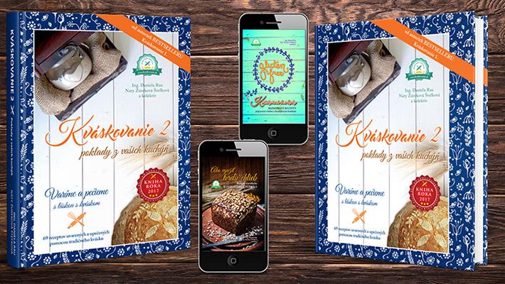 """92 receptov z kvásku - v tlačenej knihe 69 receptov (z toho 13 bezlepkových)   dve bonusové e-knihy """"Kváskovanie bez lepku"""" (14 receptov) """"Ako využiť tvrdší chlieb"""" (9 receptov) množstvo teórie o kvásku   bonusové darčeky"""